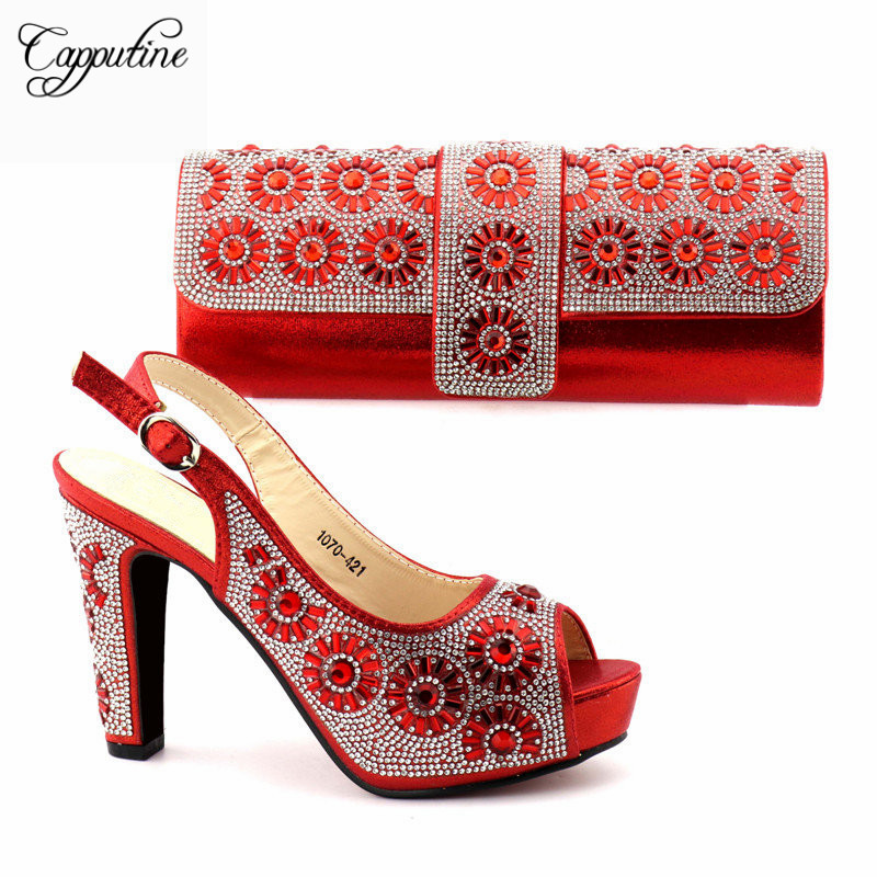 Fashion African Women Shoes And Bag Set To Match Set High Quality Italian Shoes With Matching