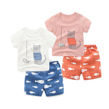 2Pcs/set Kitten Fishing Printed Short-sleeved T-shirt+Shorts Outfits Summer 100% Cotton Newborn Baby Boys Girls Clothes Suit