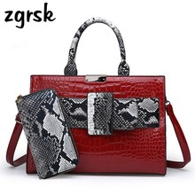 цены Designer Woman Handbag Bag Luxury Women Handbags Snake Print Pu Leather Famous Brand Lady Shoulder Messenger Bags With Wallet