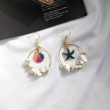 Bohemian Starfish Shell Dangle Earrings Bohemia Women Vintage Antique Geometry Turtle Stone Earring Female Jewelry