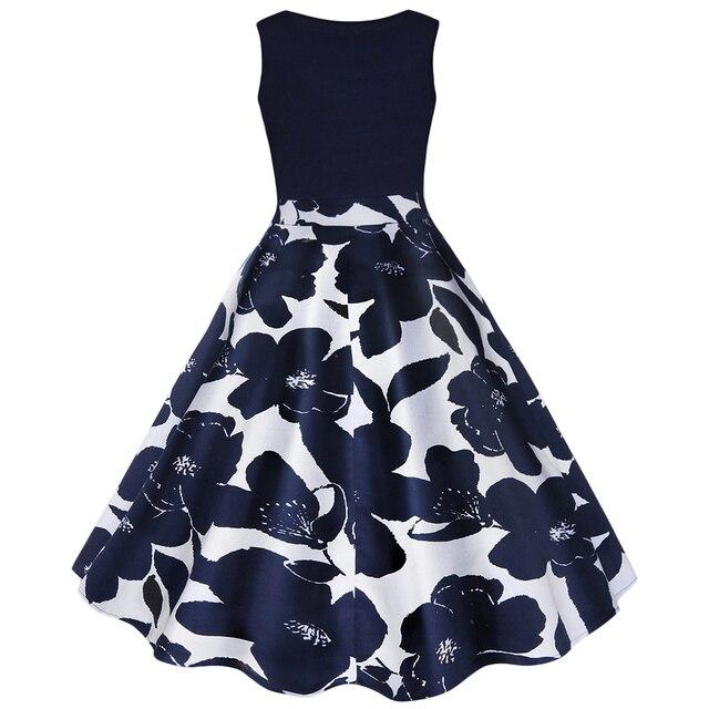 4 Color S-5XL Floral Print High Waist Vintage Dress  1