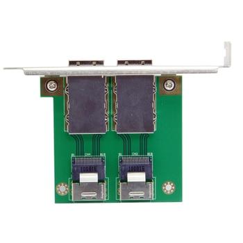 10pcs/lot CY Dual Ports Mini SAS SFF-8088 to SAS 36Pin SFF-8087 PCBA Female Adapter with PCI Bracket