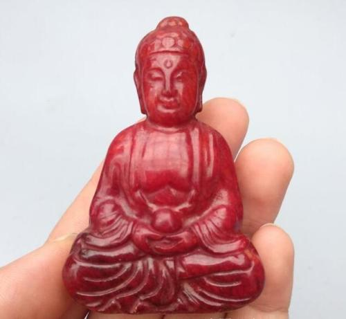 Chinese Collection Archaize Red Jade Sakyamuni Buddha Statue Exquisite Small Statues