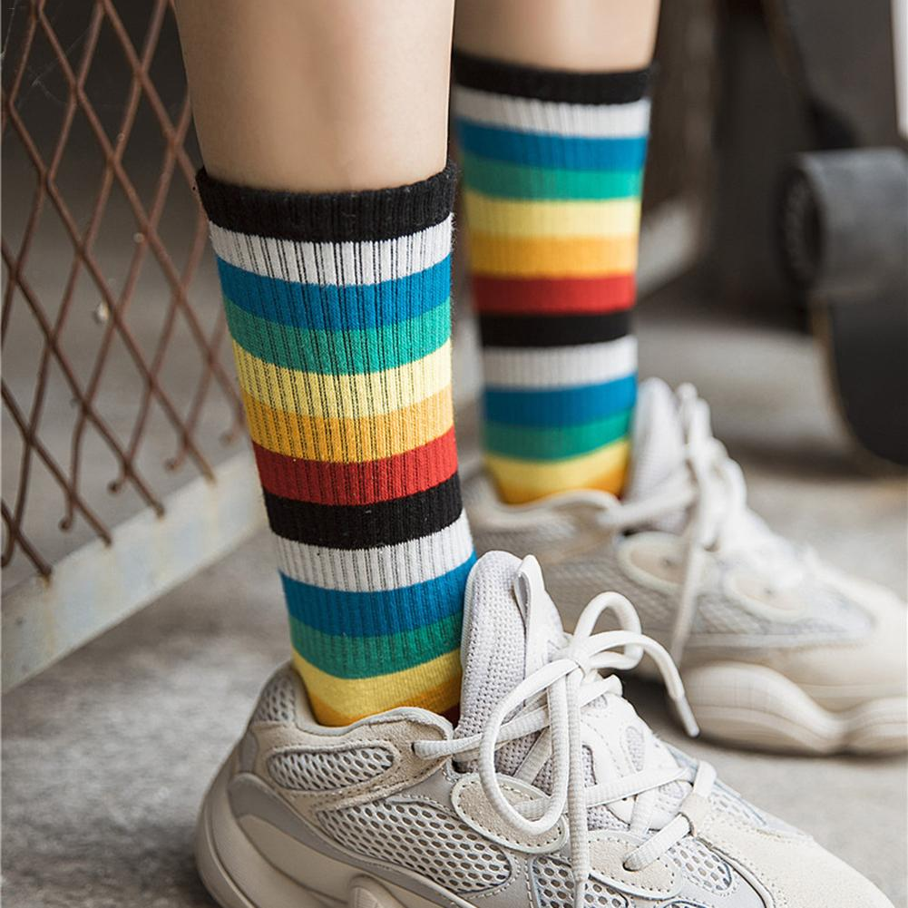 1 Pair Rainbow Strips Socks Women's Cotton Medium Length Socks Girls Students Summer Autumn Casuals Socks