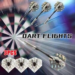 Heißer Verkauf 3 stücke 2D Bling Kühlen Sport PET Darts Flüge Laser Schwarz Spinne Schwanz Flügel Bullseye Ziel Spiel Darts zubehör Gadgets