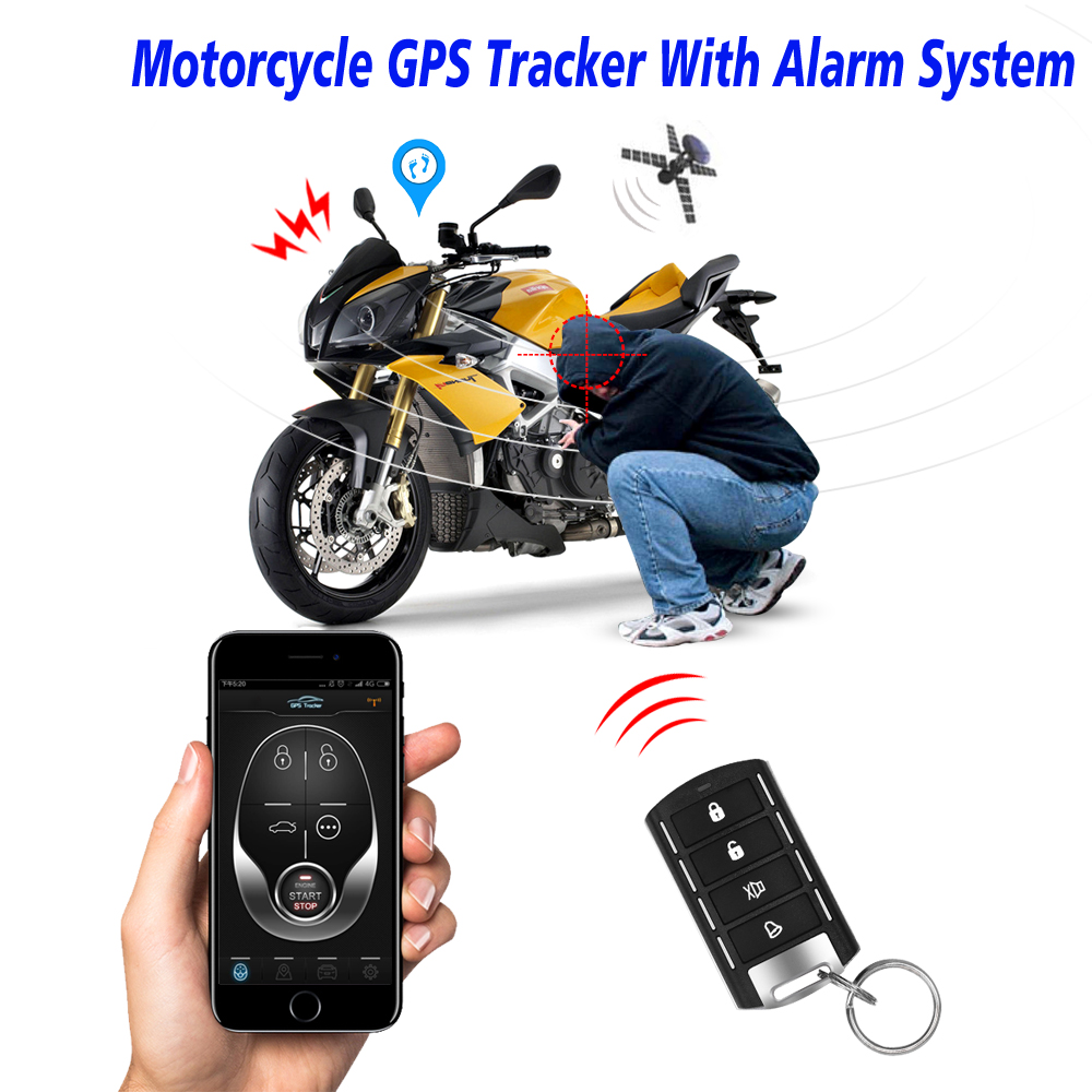 Motorcycle GPS Tracker + One Way Remote Engine Start Motorcycle Alarm With Android And Iphone APP With 2 Remote Controller