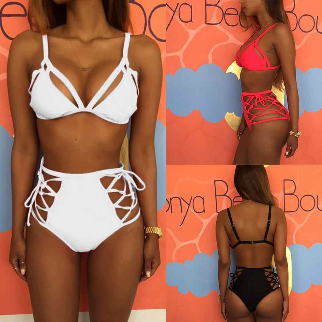 5aca21884d28cf Detail Feedback Questions about Women Bikinis Solid Bikini 2018 Hot Sale  Padded Bra Spaghetti Strap High Waist Sexy Swimsuit Swimwear Women Biquini  on ...