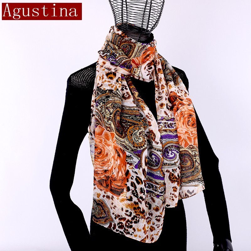 Chiffon Scarf Women Fashion Animal Print Leopard Print Winter Shawl Sjaal Autumn Long Scarfs Poncho Luxury Ladies Hijab 15 Color