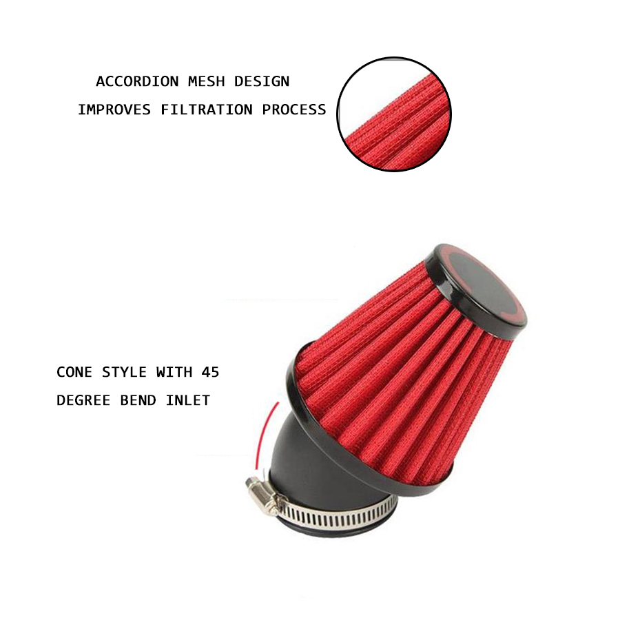 42mm Motorcycle Air Filter Motorcycle Dual Layer Stainless Steel Mesh 45 Angled 150cc 250cc Motorcycle Scooter ATV Dirt Bike in Air Filters Systems from Automobiles Motorcycles