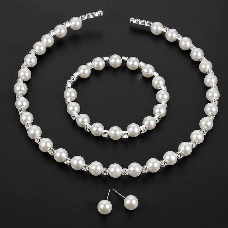 3 pièces/ensemble à la mode Initation perle Choker collier boucles d'oreilles bracelet de mariée élégant ensembles de bijoux pour les femmes accessoires de mariage