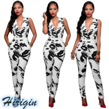 Summer Women Jumpsuits NEW Casual Skinny Jumpsuit Sleeveless Deep V-neck High Waist