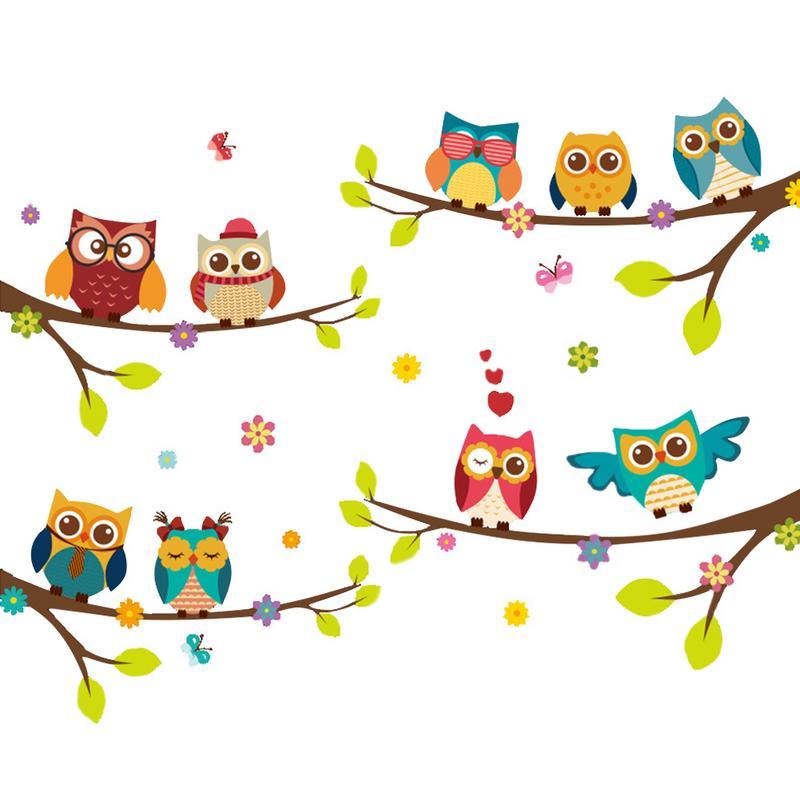 ❤️ 1 PC Dos Desenhos Animados Teste Padrão do Pássaro da Coruja Decalque Da  Parede da Árvore Adesivo