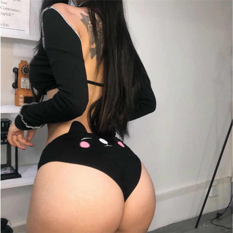 נשים סקסי הלבשה תחתונה חמוד חתול קריקטורה תחתוני כותנה תחתוני Kawaii אלגנטי תחתוני חוטיני תחתוני גבוהה מותניים מכנסיים קצרים תחתונים
