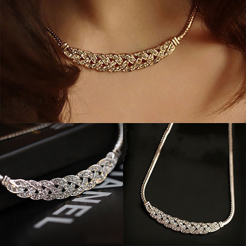 2018 Hot Sale Fshion Women Jewelry Crystal Chain Choker Chunky Statement Bib Pendant Chain Necklace(China)