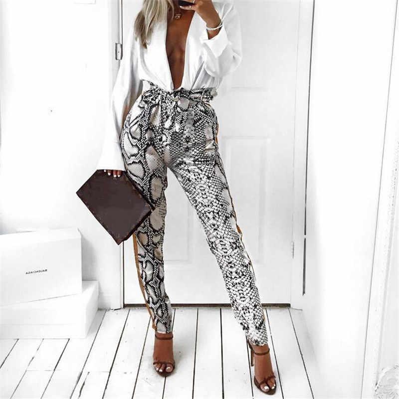 Модные женские брюки с леопардовым принтом, новинка 2019 года, брендовые длинные  облегающие брюки, 88e4330830e