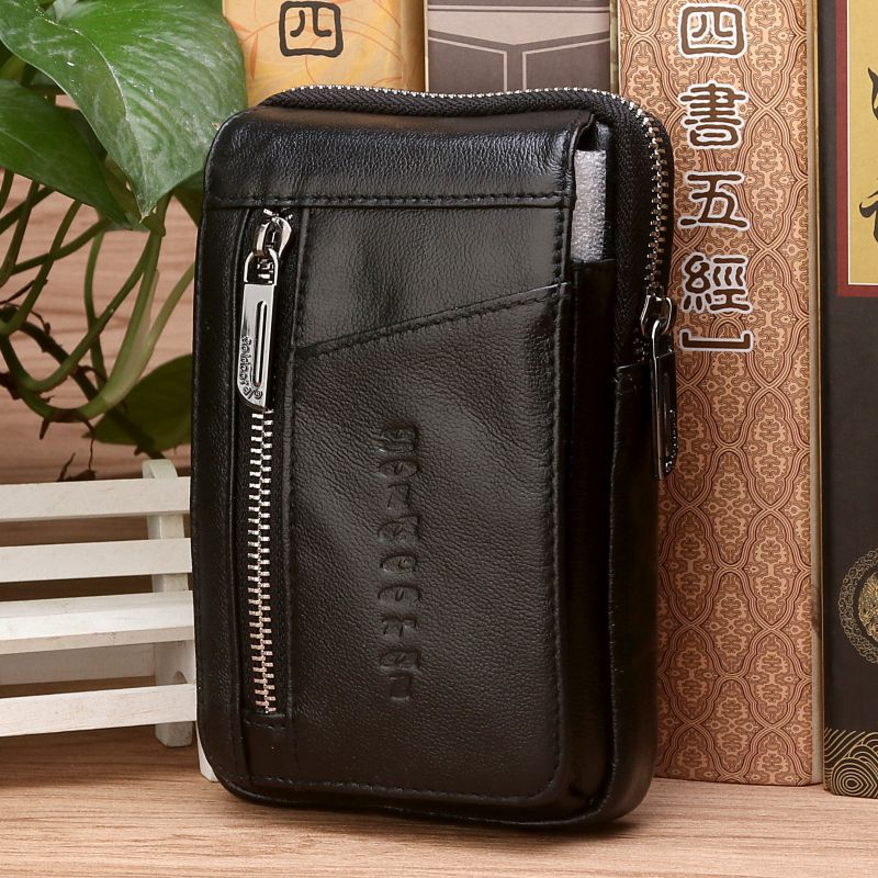 High Quality Genuine Leather Men Hip Bum Belt Purse Fanny Pack Pouch Mini Cell Mobile Phone Pocket Cigarette Case Hook Waist Bag