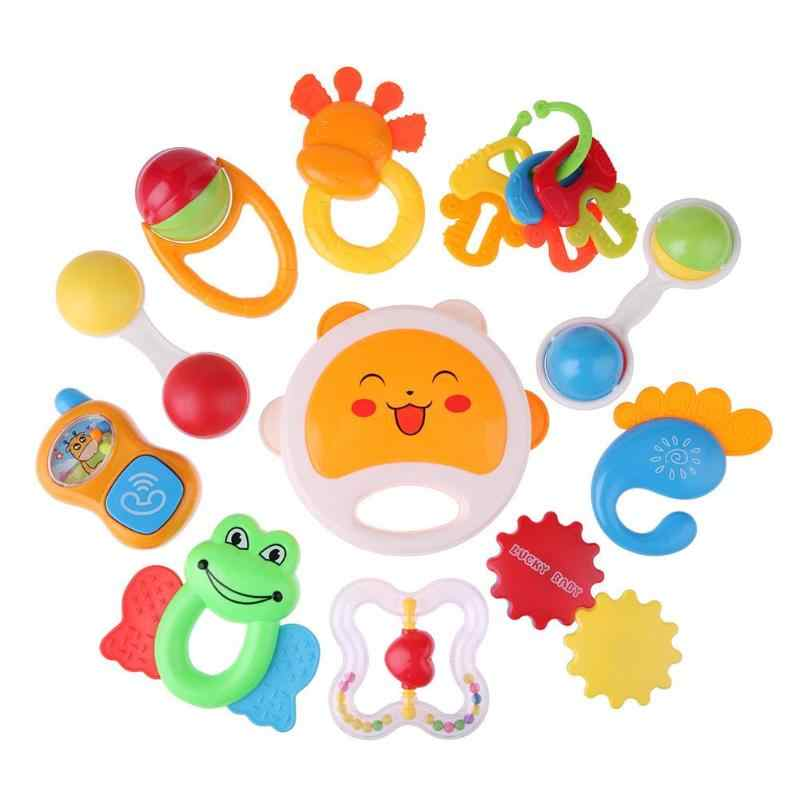 0-12M Cute Baby Early Educational   rattle Music teeth rubber comfort Hand Rattle Music Sound Appease Toys random color ship