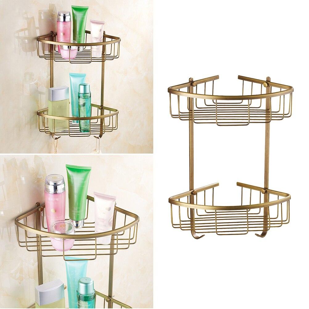 Support de rangement de panier de douche de bâti de mur d'angle de cuivre organisateur d'étagère de Double couche pour la cuisine de toilette de salle de bains