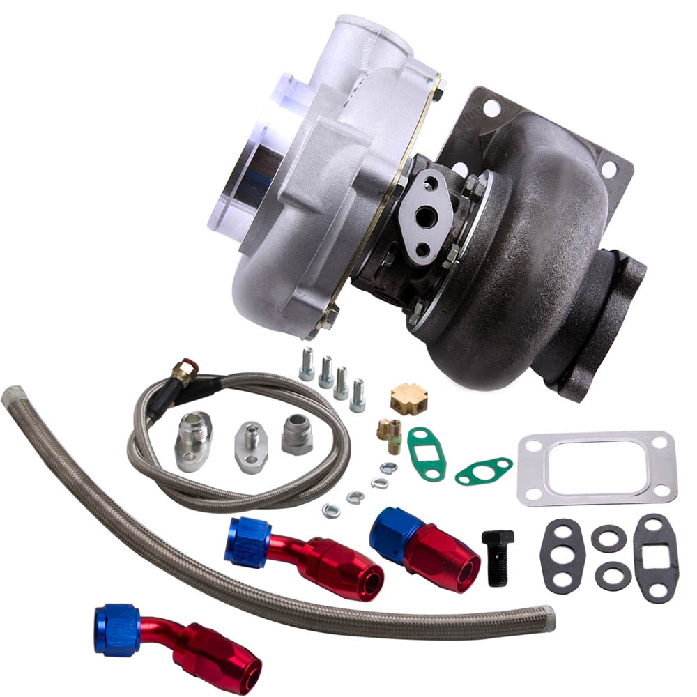 Turbocompresor GT30 GT3037 GT3076 Turbo 500bhp + líneas de alimentación de aceite de retorno de drenaje de aceite para todos los motores 6/8 cyl 3.0L 5.0L