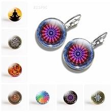 Handmade Mandala Flower Earrings Vintage Hinduism Datura Glass Dome Earring Symbol Om Zen Buddhism Yoga Jewelry For Women Gift