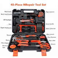 New 45 pcs Garage and Home Tool Kit with Claw Hammer Wrench Pliers Screw Bits Tool Set in Box For Home Office Yard garden
