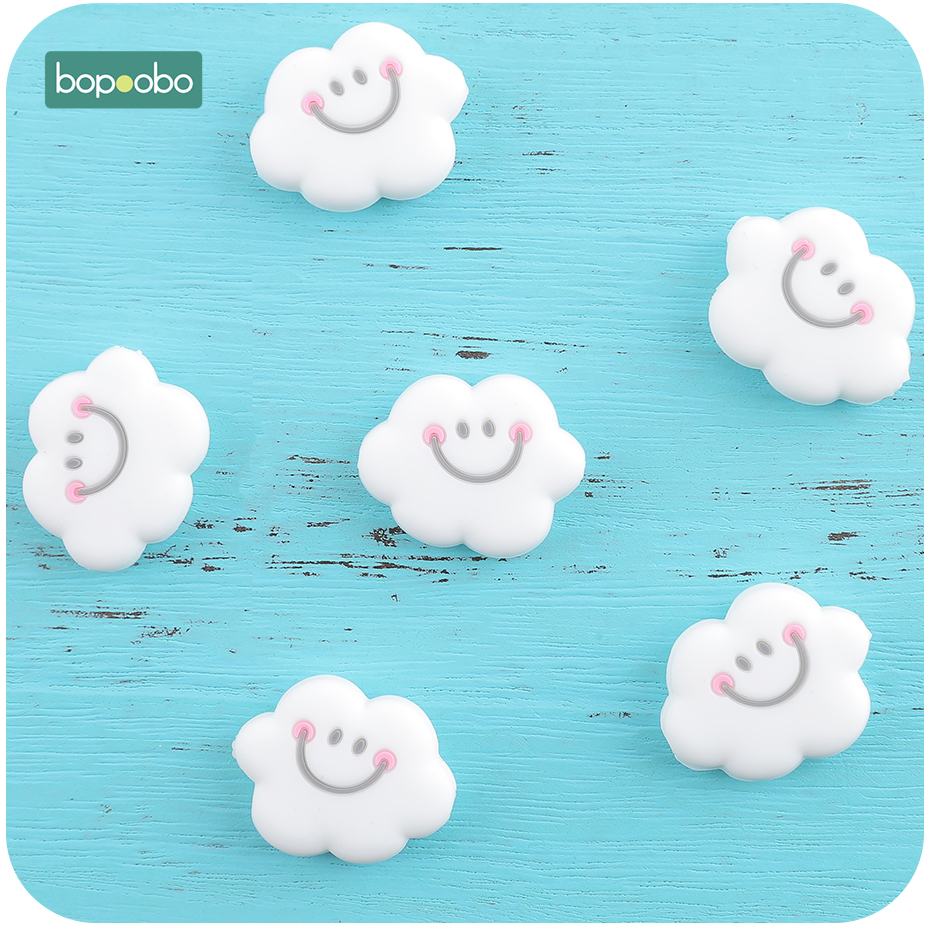 Bopoobo 20pc 0-12 Months BPA Free Silicone Tiny Rod Beads Silicone Pearl Cloud For Baby Rattle Toys Silicone Rodent Baby Teether