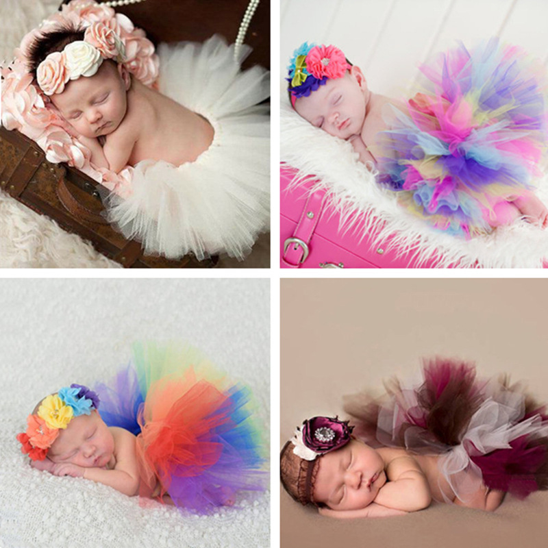 Photography Props Newborn Tutu Tulle Skirt+Headband Set Baby Photo Prop Skirts Photography Babies Accessories Fotografia Costume