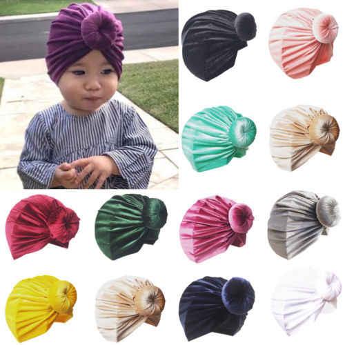 ทารกแรกเกิดเด็กวัยหัดเดินเด็กทารกเด็กหญิงอินเดีย Turban Knot Beanie หมวกหมวกฤดูหนาวหมวกเด็กกำมะหยี่ Skull Beanies หมวก