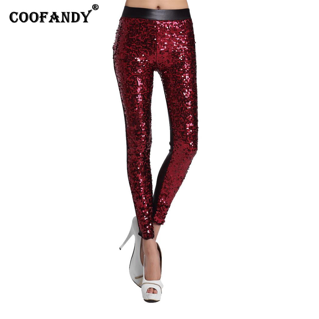 Women Fashion High-rise Faux Leather Stitching Casual Leather Pants Spring, Fall and Winter Sequin   Leggings