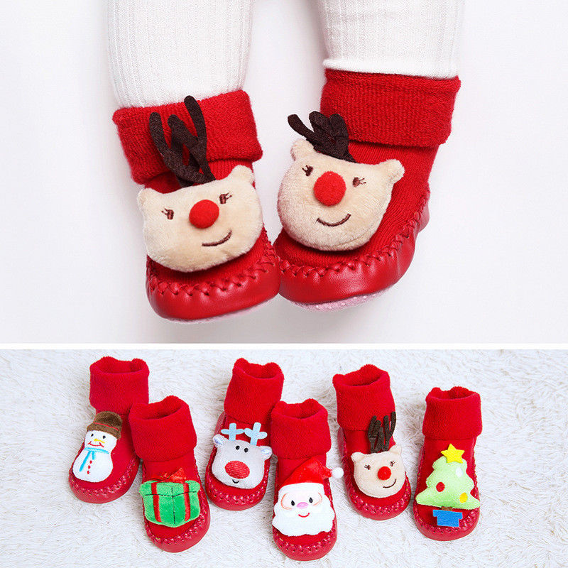 2018 Baby Xmas Soft Crib Shoes Toddler Kid Cartoon Anti-slip Christmas Deer Shoe Floor Socks