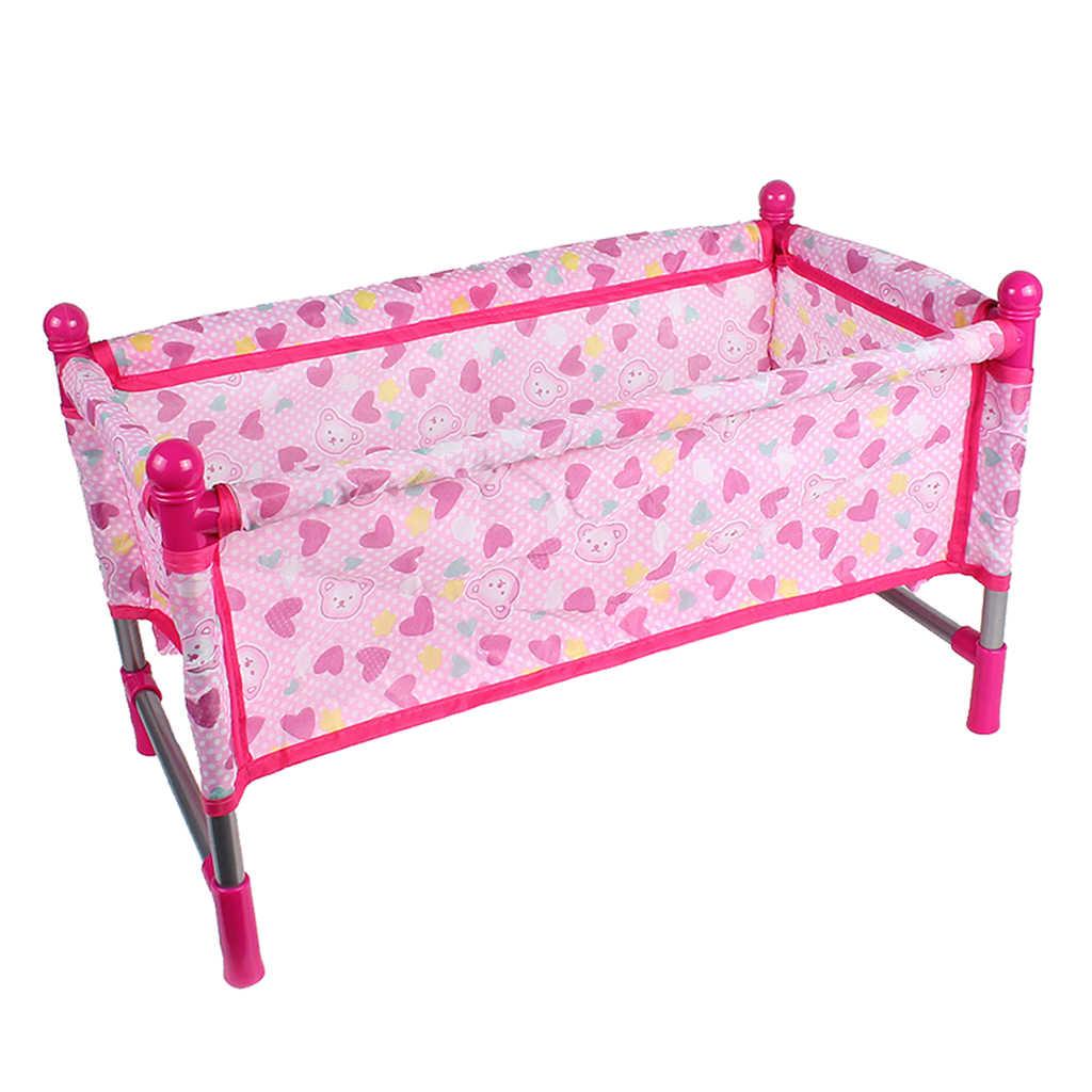 Nursery Room Furniture Decor - ABS Boneka Bayi Crib Bed untuk 9-12 Inci Reborn Boneka untuk Mellchan Boneka aksesoris