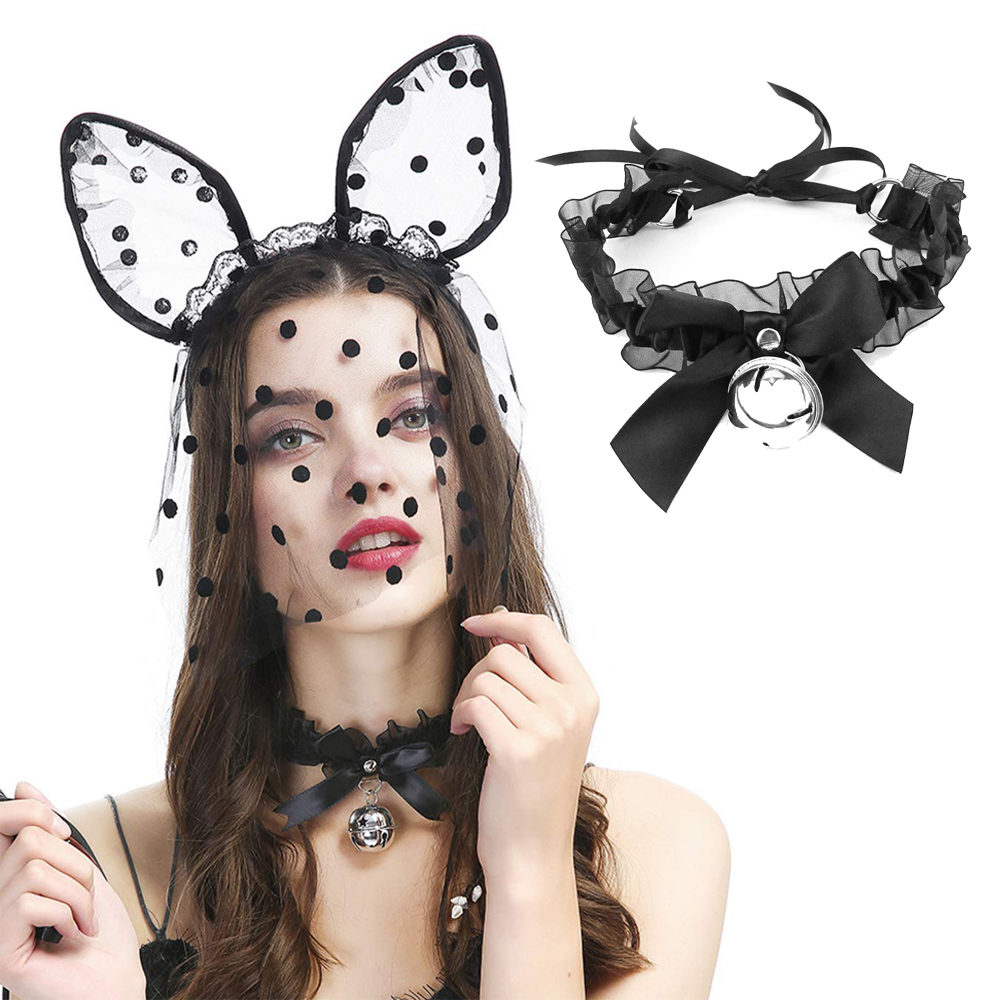 Women <font><b>Sexy</b></font> Lace Collar Bell Necklace Black Bunny Girl <font><b>Cosplay</b></font> Female Sex Flirting Bondage Games image