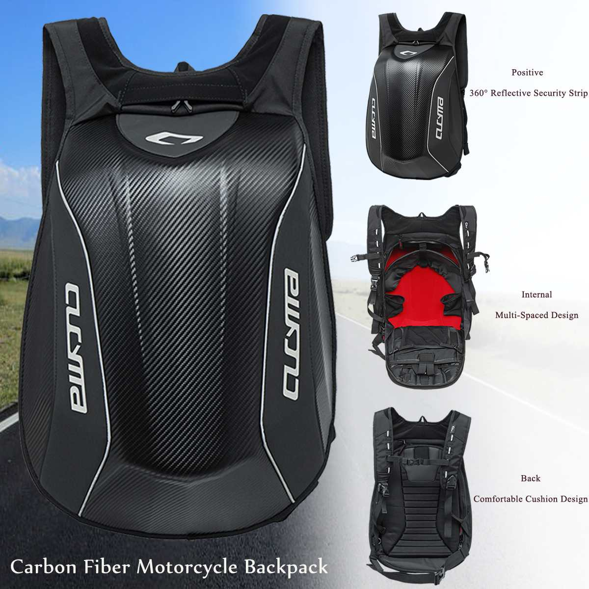 1 PCS Universal 30L Carbon Fiber Waterproof Backpack Motorcycle Bike Backpack Riding Racing Storage Bag Motorcycle Knight Bag
