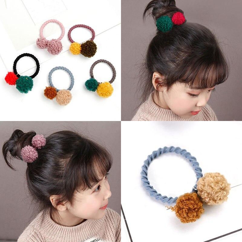LNRRABC Colorful Hot Cute Ponytail Rope Headdress Headwear Fur Ball With Elastic Band Ribbon ...