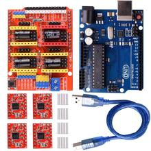 hot-CNC Shield Expansion Board V3.0 +UNO R3 Board + A4988 Stepper Motor Driver With Heatsink for Arduino Kits K75 (CNC Shield+(China)