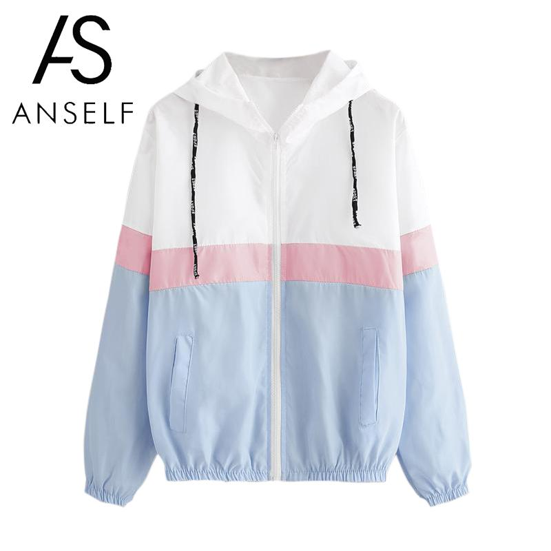 Autumn Casual Women Hooded Coat Contrast Color Pockets Zipper Elastic Outdoor   Jacket   Windbreaker Outwear Raincoat   Basic     Jacket