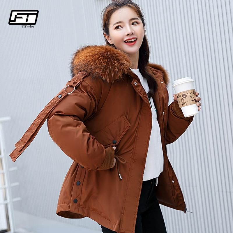 Зимняя женская куртка парка Parkas Mujer Fitaylor короткая с капюшоном с меховым воротником