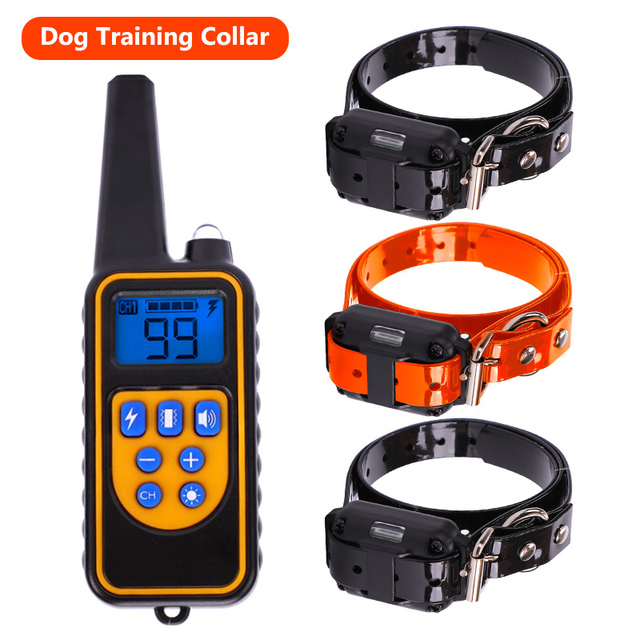 echargeable Waterproof Electronic Dog Training Collars Stop Barking LCD Display 800 yard Remote control Shock vibration tone