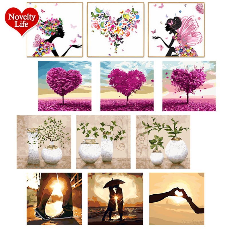 3 Pcs/Set DIY Oil Painting By Numbers Flowers Vase Coloring Picture Drawing Canvas Hand Painted Wall Landscape Gift With Frame