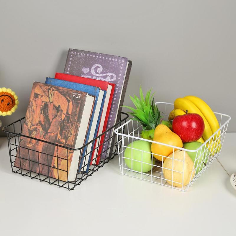 2 Color Household Wire Basket Wrought Iron Art Storage Combination Desktop Holder Metal Kitchen Bathroom Sundries
