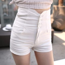 Summer Sexy Women Denim Shorts Hollow Out Solid High Waist White Black Short