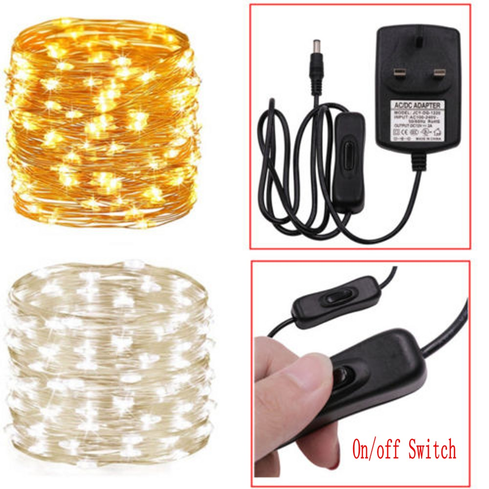 10/20/30M Fairy Lights Plug-in LED String Wedding Party Garden Christmas Decor On/Off Switch DC12V 2A Power Adapter  EU/US/UK/AU