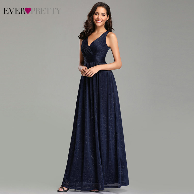 Navy Blue   Bridesmaid     Dresses   Ever Pretty V-Neck A-Line Sleeveless Floor-Length Sexy   Dresses   for Wedding Party Vestido Madrinha