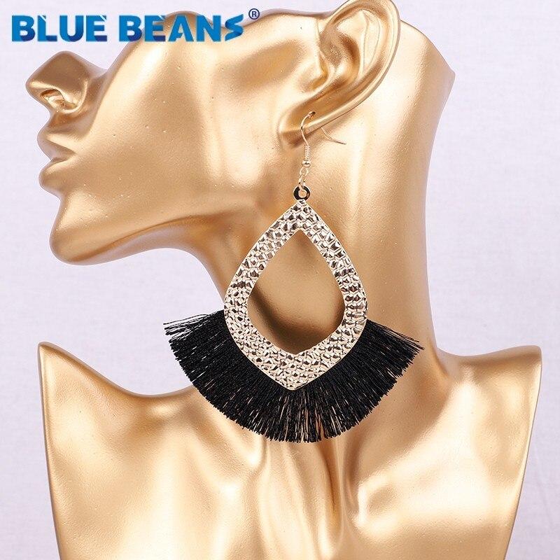 2019 Tassel earrings bohemian statement luxury long earring jewelry handmade for women geometric fringe fashion big star trendy