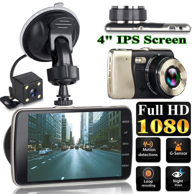 NEW Style 4 Polegada Tela LCD de 170 Graus Lente Dupla HD 1080P Câmera Do Carro DVR Veículo Traço Video Cam gravador G-Sensor