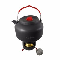 New Sale Alocs Camping Water Tea Kettle Picnic Pot Alcohol Stove with Bracket Outdoor Travel Cookware Hiking Equipment Set CW