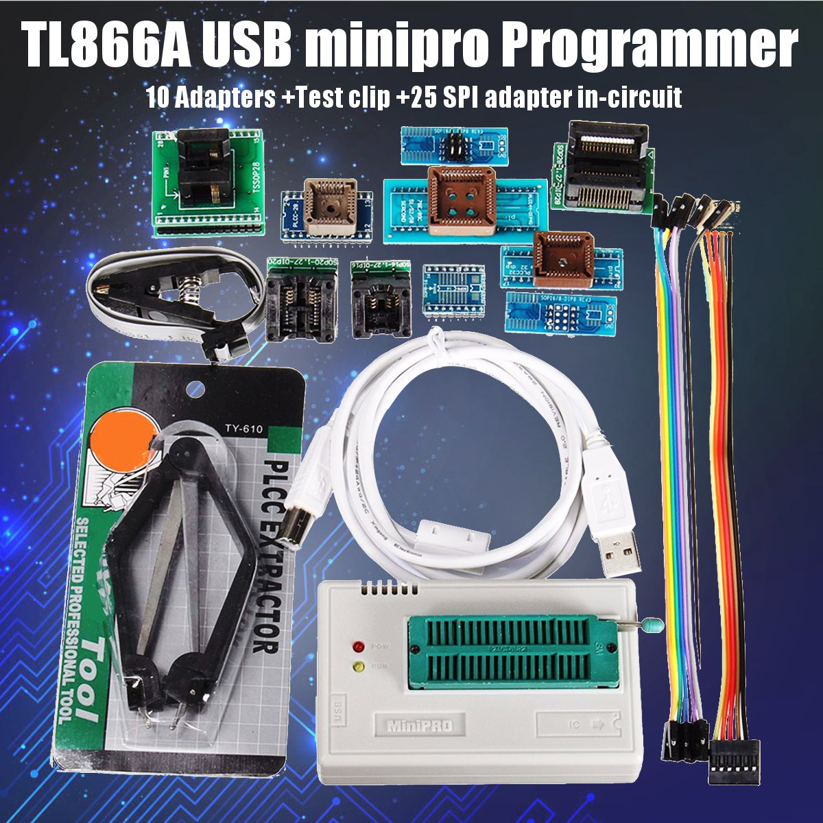 Newest TL866A/TL866II Plus USB Universal Programmer+10 Items IC Adapters High Speed TL866CS English Manual
