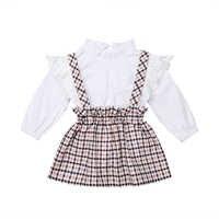 Enfants vêtements ensemble 2 pièces enfant en bas âge bébé filles dentelle Floral Top t-shirt + treillis salopette jupes automne tenues 2019