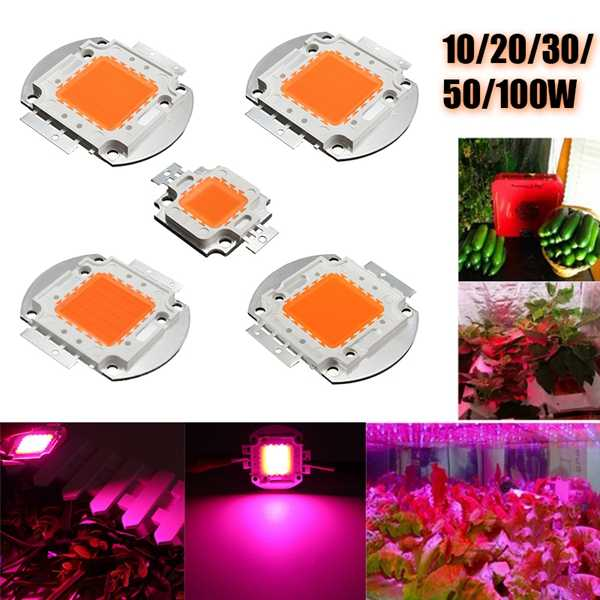 Spektrum Penuh Daya Tinggi Chip LED Grow Light 10W 20W 30W 50W 380NM-840NM LED COB Chip untuk Indoor Outdoor Tanaman Pencahayaan