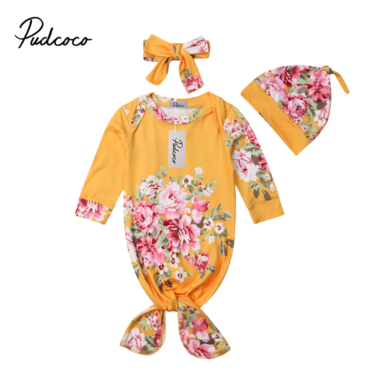 Newborn Baby Girl Flower Blanket Swaddle Muslin Wrap Swaddling Sleeping Bags Hat 3Pc Infant Kids Autumn Clothes Set Sleeping Bag